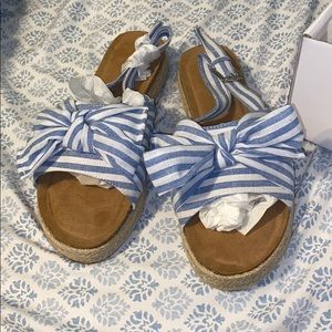 Blue and white striped slip on Sandals